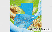 Political Shades Map of Guatemala, physical outside