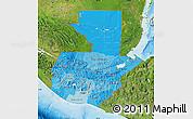 Political Shades Map of Guatemala, satellite outside, bathymetry sea