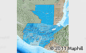 Political Shades Map of Guatemala, semi-desaturated, land only