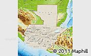 Shaded Relief Map of Guatemala, physical outside