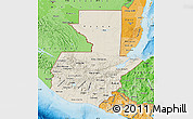 Shaded Relief Map of Guatemala, political shades outside, shaded relief sea