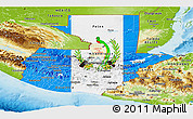 Flag Panoramic Map of Guatemala, physical outside