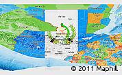 Flag Panoramic Map of Guatemala, political outside