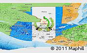 Flag Panoramic Map of Guatemala, political shades outside