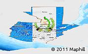 Flag Panoramic Map of Guatemala, single color outside, bathymetry sea