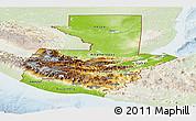 Physical Panoramic Map of Guatemala, lighten