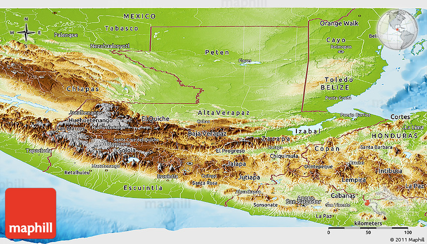 Physical Panoramic Map of Guatemala