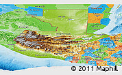 Physical Panoramic Map of Guatemala, political outside, shaded relief sea
