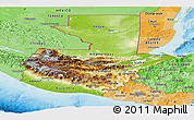 Physical Panoramic Map of Guatemala, political shades outside, shaded relief sea