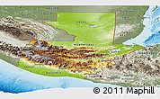Physical Panoramic Map of Guatemala, semi-desaturated, land only