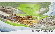 Physical Panoramic Map of Guatemala, semi-desaturated