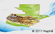 Physical Panoramic Map of Guatemala, single color outside
