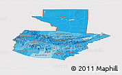 Political Shades Panoramic Map of Guatemala, cropped outside