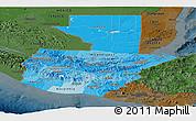 Political Shades Panoramic Map of Guatemala, darken