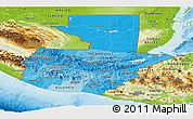 Political Shades Panoramic Map of Guatemala, physical outside
