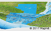 Political Shades Panoramic Map of Guatemala, satellite outside, bathymetry sea