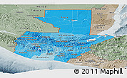 Political Shades Panoramic Map of Guatemala, semi-desaturated