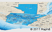 Political Shades Panoramic Map of Guatemala, shaded relief outside, bathymetry sea
