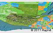 Satellite Panoramic Map of Guatemala, political outside, satellite sea