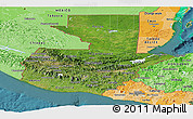 Satellite Panoramic Map of Guatemala, political shades outside, satellite sea