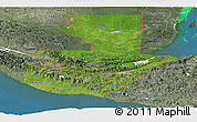 Satellite Panoramic Map of Guatemala, semi-desaturated, land only