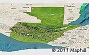 Satellite Panoramic Map of Guatemala, shaded relief outside, satellite sea