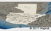 Shaded Relief Panoramic Map of Guatemala, darken