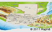 Shaded Relief Panoramic Map of Guatemala, physical outside