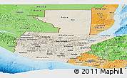 Shaded Relief Panoramic Map of Guatemala, political shades outside, shaded relief sea