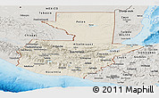 Shaded Relief Panoramic Map of Guatemala, semi-desaturated, land only