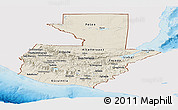 Shaded Relief Panoramic Map of Guatemala, single color outside