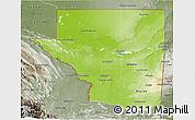 Physical 3D Map of Peten, semi-desaturated