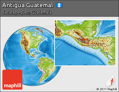 Physical Location Map of Antigua Guatemal