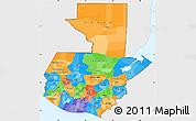 Political Simple Map of Guatemala, single color outside