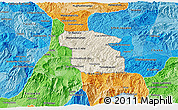 Shaded Relief 3D Map of Totonicapan, political shades outside