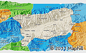 Shaded Relief 3D Map of Zacapa, political shades outside