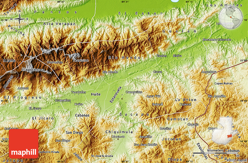 Physical Map of Zacapa