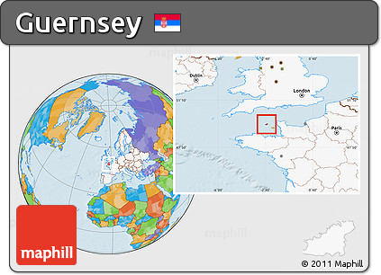 Free Political Location Map of Guernsey highlighted continent