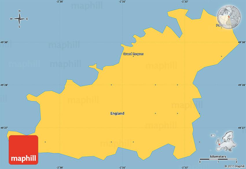 Savanna Style Simple Map of Guernsey