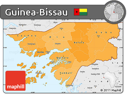 Free Political Shades Simple Map of GuineaBissau single color