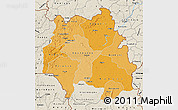 Political Shades Map of Kankan, shaded relief outside