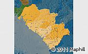 Political Shades Map of Kindia, darken