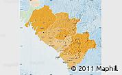 Political Shades Map of Kindia, lighten