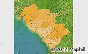 Political Shades Map of Kindia, satellite outside