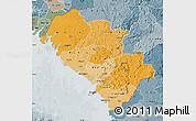 Political Shades Map of Kindia, semi-desaturated