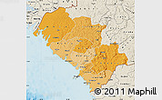 Political Shades Map of Kindia, shaded relief outside