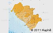 Political Shades Map of Kindia, single color outside