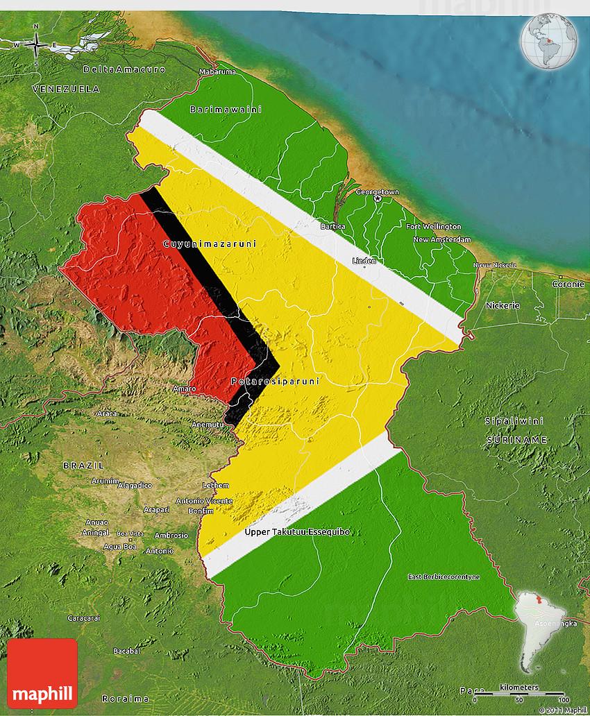 Flag 3D Map of Guyana satellite outside