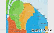 Political Shades Map of Demerara/mahaica