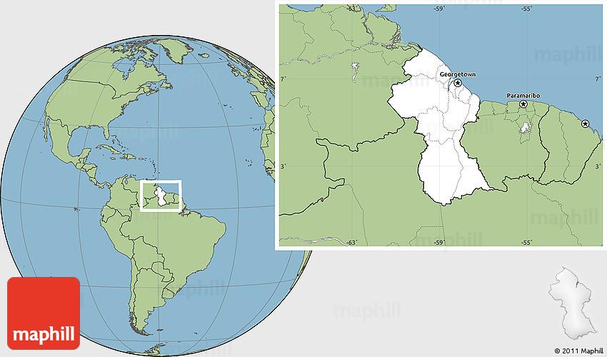 Blank Location Map of Guyana savanna style outside